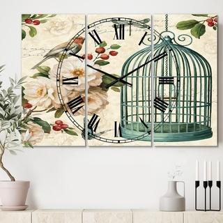 Designart 'Blue Cottage Bird, Birdcage and Apple Blossoms II' Cottage 3 Panels Oversized Wall CLock