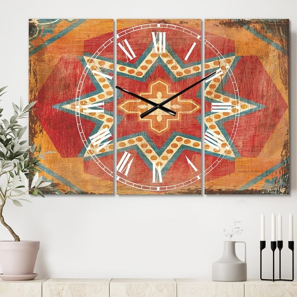 Designart 'Moroccan Orange Tiles Collage I' Cottage 3 Panels Oversized Wall CLock - 36 in. wide x 28 in. high - 3 panels