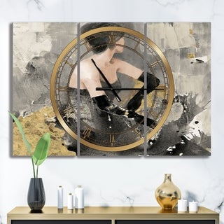 Designart 'Gold Fashion Dance' Glam 3 Panels Large Wall CLock - 36 in. wide x 28 in. high - 3 panels