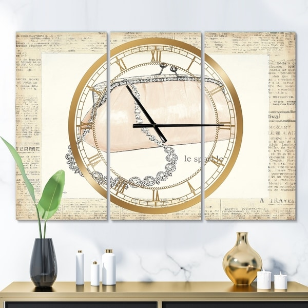 Designart 'Chic Galm Closet II' Glam 3 Panels Large Wall CLock - 36 in. wide x 28 in. high - 3 panels