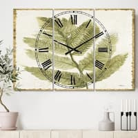 Designart 'Simple Forest I' Cottage 3 Panels Oversized Metal Clock - 36 in. wide x 28 in. high - 3 panels