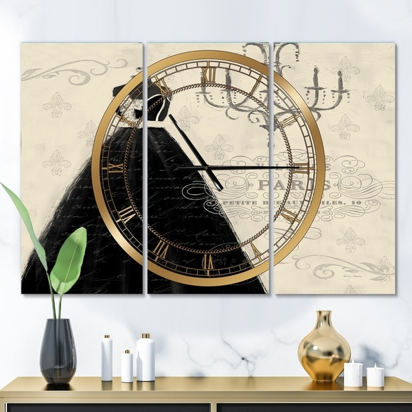 Designart 'French chandeliers Couture IV' Glam 3 Panels Oversized Wall CLock - 36 in. wide x 28 in. high - 3 panels