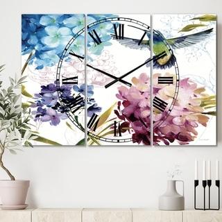 Porch & Den Hummingbird Blue Cottage Flower' 3-panel Oversized Metal Clock