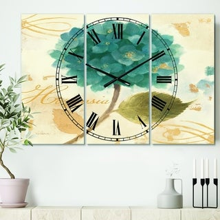 Designart 'Blue Cottage Flower Hydrangea I' Cottage 3 Panels Oversized Wall CLock - 36 in. wide x 28 in. high - 3 panels