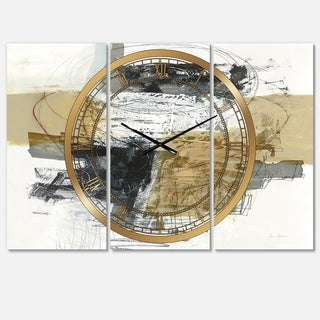 Designart 'Glam Cream Dream II' Glam 3 Panels Large Wall CLock - 36 in. wide x 28 in. high - 3 panels