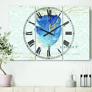Designart 'Blue Damask Feather' Cottage 3 Panels Oversized Wall CLock - 36 in. wide x 28 in. high - 3 panels