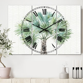 Designart 'Mixed Botanical Greens palms III' Cottage 3 Panels Oversized Wall CLock - 36 in. wide x 28 in. high - 3 panels
