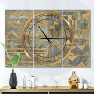 Designart 'Gold Geometric Tapestry III' Glam 3 Panels Large Wall CLock - 36 in. wide x 28 in. high - 3 panels