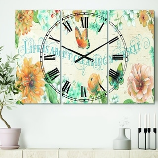 Designart 'Butterfly Bloom lovely Quote' Cottage 3 Panels Oversized Wall CLock - 36 in. wide x 28 in. high - 3 panels