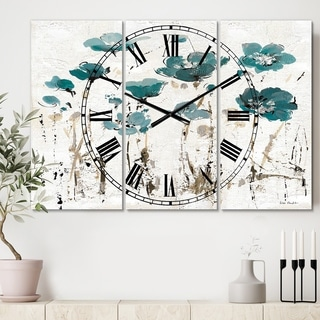 Designart 'Fields of Turquoise Watercolor Flower I' Cottage 3 Panels Oversized Wall CLock - 36 in. wide x 28 in. high - 3 panels
