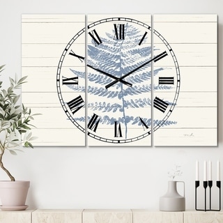 Designart 'Blue Fern Print on wood II' Cottage 3 Panels Oversized Wall CLock - 36 in. wide x 28 in. high - 3 panels