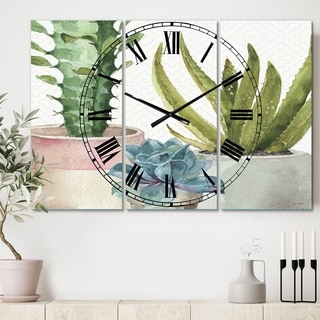 Designart 'Mixed Green Element III' Cottage 3 Panels Large Wall CLock - 36 in. wide x 28 in. high - 3 panels