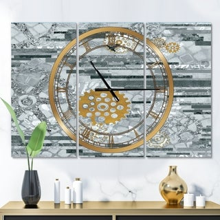 Designart 'Modern Gold Timetable I' Glam 3 Panels Oversized Wall CLock - 36 in. wide x 28 in. high - 3 panels