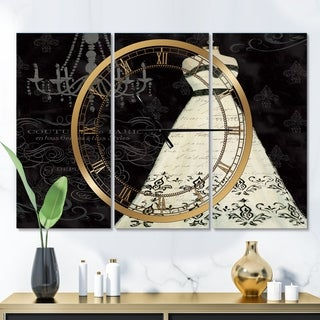 Designart 'French Couture II' Glam 3 Panels Oversized Wall CLock - 36 in. wide x 28 in. high - 3 panels