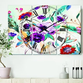 Designart 'Abstract Purple And Red Farmhouse Flowers' Cottage 3 Panels Oversized Wall CLock