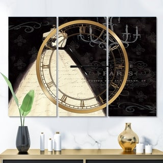 Designart 'French Couture I' Glam 3 Panels Oversized Wall CLock - 36 in. wide x 28 in. high - 3 panels