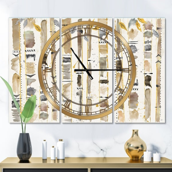 Designart 'Abstract Gold Birch Trees I' Glam 3 Panels Oversized Wall CLock - 36 in. wide x 28 in. high - 3 panels