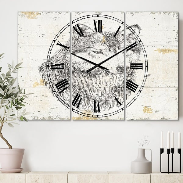 Designart 'Wolf Wild and Beautiful III' Cottage 3 Panels Oversized Wall CLock - 36 in. wide x 28 in. high - 3 panels