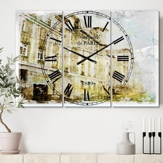 Designart 'Watercolor Dark Illustration' Cottage 3 Panels Large Wall CLock - 36 in. wide x 28 in. high - 3 panels