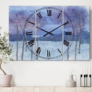 Designart 'Evening Serenade II' Cottage 3 Panels Oversized Wall CLock - 36 in. wide x 28 in. high - 3 panels