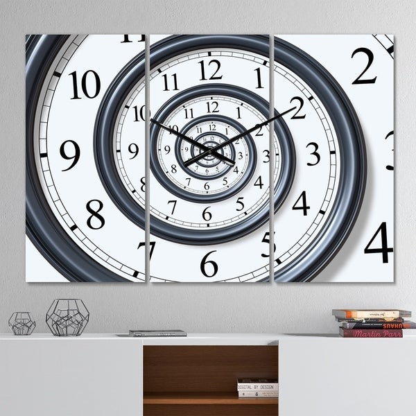 Designart 'Time Spiral Analog Wall' Modern 3 Panels Oversized Wall CLock - 36 in. wide x 28 in. high - 3 panels