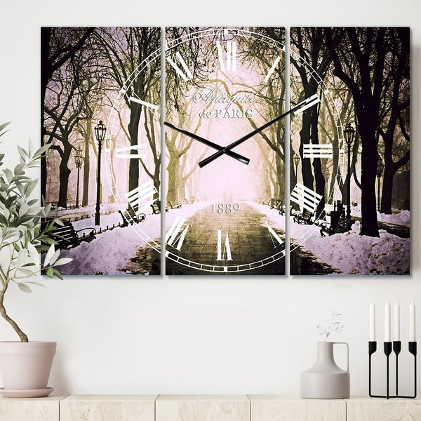 Designart 'Fog in Alley Vintage Style' Cottage 3 Panels Oversized Wall CLock - 36 in. wide x 28 in. high - 3 panels