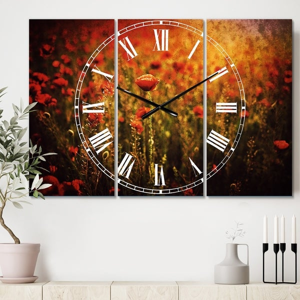 Designart 'Dense Poppy Field At Sunset' Cottage 3 Panels Oversized Wall CLock - 36 in. wide x 28 in. high - 3 panels