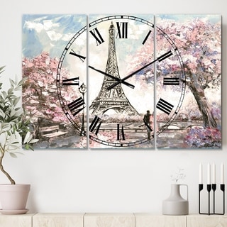 Designart 'Eiffel with Pink Flowers' Cottage 3 Panels Oversized Wall CLock - 36 in. wide x 28 in. high - 3 panels