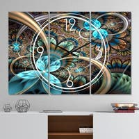 Designart 'Light Blue Fractal Flower' Modern 3 Panels Oversized Wall CLock - 36 in. wide x 28 in. high - 3 panels