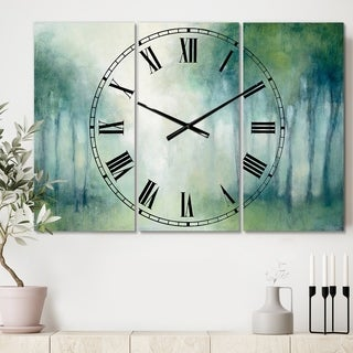 Designart 'Walk in the Forest' Cottage 3 Panels Large Wall CLock - 36 in. wide x 28 in. high - 3 panels