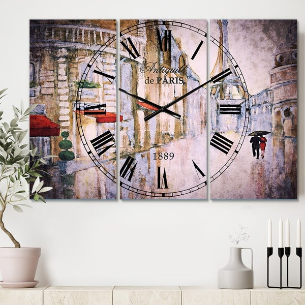 Designart 'Love in Paris III' Cottage 3 Panels Oversized Wall CLock - 36 in. wide x 28 in. high - 3 panels