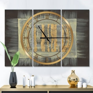 Designart 'Galm Abstract II' Glam 3 Panels Oversized Wall CLock - 36 in. wide x 28 in. high - 3 panels