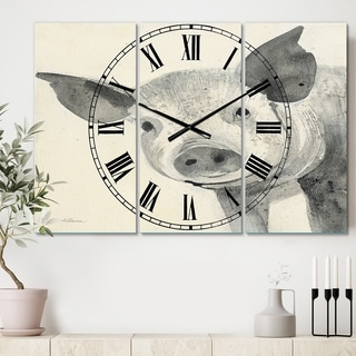 Designart 'Piglet Farmhouse Animal in Black and White' Cottage 3 Panels Oversized Wall CLock