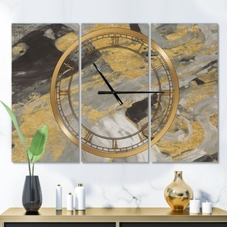 Designart 'Marble Gold and Black' Glam 3 Panels Large Wall CLock - 36 in. wide x 28 in. high - 3 panels