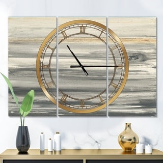 Designart 'watercolor colorfields II' Glam 3 Panels Oversized Wall CLock - 36 in. wide x 28 in. high - 3 panels