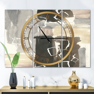 Designart 'Glam Dancing shape I' Glam 3 Panels Oversized Wall CLock - 36 in. wide x 28 in. high - 3 panels