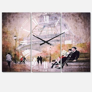 Designart 'Love in Paris VI' Cottage 3 Panels Oversized Wall CLock - 36 in. wide x 28 in. high - 3 panels