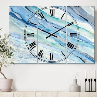 Designart 'Blue Silver Spring I' Cottage 3 Panels Large Wall CLock - 36 in. wide x 28 in. high - 3 panels