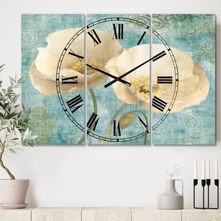 Designart 'bouquet Poppies on Paisley II' Cottage 3 Panels Oversized Wall CLock - 36 in. wide x 28 in. high - 3 panels