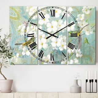 Designart 'Birds on Blossom' Cottage 3 Panels Oversized Wall CLock - 36 in. wide x 28 in. high - 3 panels