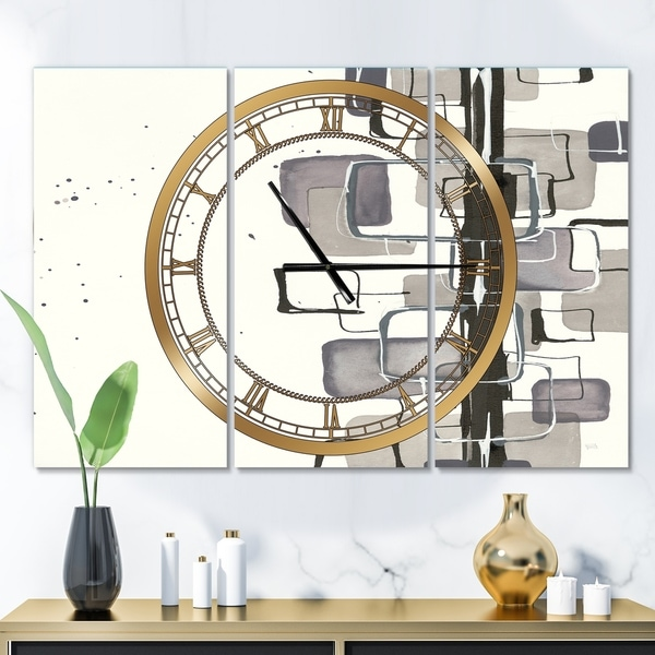 Designart 'Glam Dancing shape III' Glam 3 Panels Oversized Wall CLock - 36 in. wide x 28 in. high - 3 panels