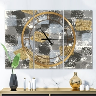Designart 'Gold Glamour Squares II' Glam 3 Panels Oversized Wall CLock - 36 in. wide x 28 in. high - 3 panels