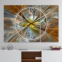 Designart 'Symmetrical Yellow Fractal Flower' Modern 3 Panels Oversized Wall CLock - 36 in. wide x 28 in. high - 3 panels