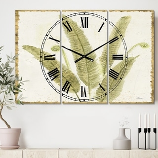 Designart 'Simple Forest II' Cottage 3 Panels Large Wall CLock - 36 in. wide x 28 in. high - 3 panels