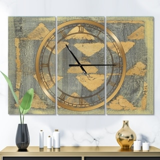 Designart 'Glam Metallic Form I' Glam 3 Panels Large Wall CLock - 36 in. wide x 28 in. high - 3 panels