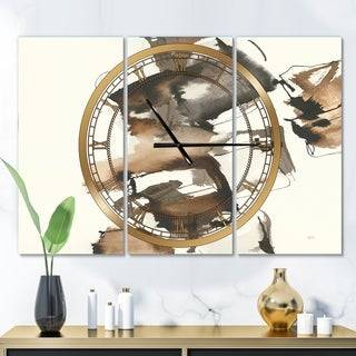 Designart 'Gold Glam Squares II' Glam 3 Panels Large Wall CLock - 36 in. wide x 28 in. high - 3 panels