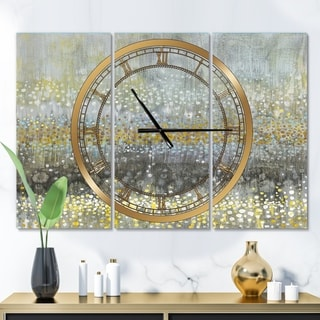 Designart 'Glam Rain Abstract III' Glam 3 Panels Large Wall CLock - 36 in. wide x 28 in. high - 3 panels