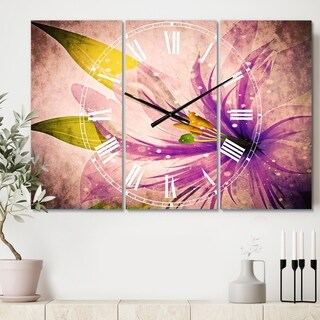 Designart 'Glowing Lily Flower' Cottage 3 Panels Oversized Wall CLock - 36 in. wide x 28 in. high - 3 panels