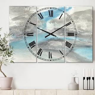 Designart 'Watercolor Minimal Blue Tones II' Cottage 3 Panels Large Wall CLock - 36 in. wide x 28 in. high - 3 panels
