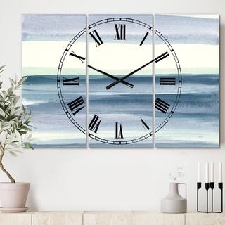 Porch & Den 'Mint Indigo Dawn I' Tri-panel Oversized Metal Clock